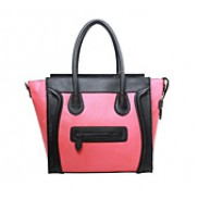 Vanessa Medium Tote In Smooth Leather Black And Hot Pink