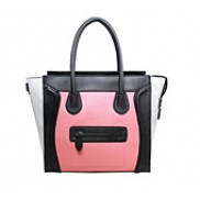 Vanessa Medium Tote In Smooth Leather Black/pink/white