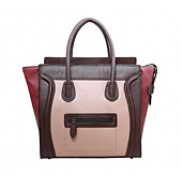 Vanessa Medium Tote In Smooth Leather Choco/pink/burgundy