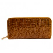 Yukon Purse Wallet Croc Effect Leather Khaki
