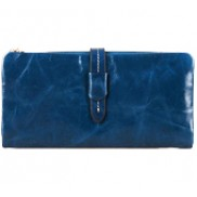 Tara Vintage Oil Wax Cowhide Long Wallet Blue
