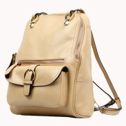 Classic Two Way Leather Backpack Beige
