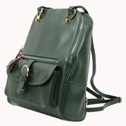 Classic Two Way Leather Backpack Green