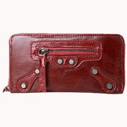 The Biker Leather Long Wallet Garnet
