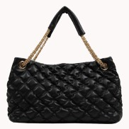 Geena Quilted Leather Bag Black