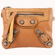 The Biker Leather Pochette Wallet Camel