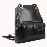 Classic Two Way Leather Backpack Black