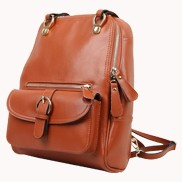 Classic Two Way Leather Backpack Brown
