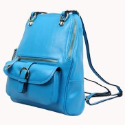 Classic Two Way Leather Backpack Light Blue