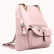 Classic Two Way Leather Backpack Pink