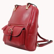 Classic Two Way Leather Backpack Red