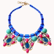 Fashion Vintage Gemstones Bib Necklace Blue