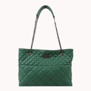 Faye Quilted Leather Tote Bag Green