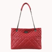 Faye Quilted Leather Tote Bag Red