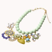 Flower On Beaded Chain Necklace