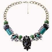 Gem And Crystal Stones Bib Necklace