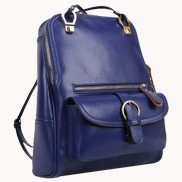 Classic Two Way Leather Backpack Blue