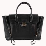 Goldie Large Leather Bag Black