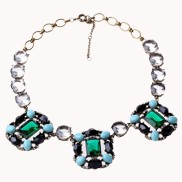 Vintage Emerald And Gemstones Bib Necklace