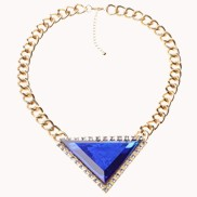 Love Triangle Faux Stone Bib Necklace Blue