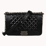 Ingrid Quilted Medium Leather Bag Black