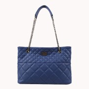 Faye Quilted Leather Tote Bag Blue