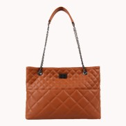 Faye Quilted Leather Tote Bag Brown