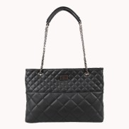 Faye Quilted Leather Tote Bag Black