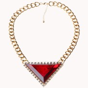 Love Triangle Faux Stone Bib Necklace Red