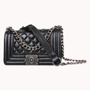 Ingrid Quilted Small Leather Bag Black