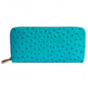 Yukon Purse Wallet Ostrich Leather Turquoise