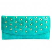 Scarlet Studded Long Wallet Leather Turquoise