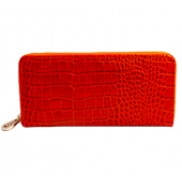 Yukon Purse Wallet Croc Effect Leather Orange