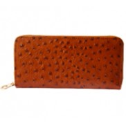 Yukon Purse Wallet Ostrich Leather Brown